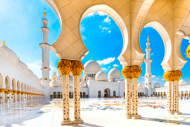 The Sheikh Zayed Grand Mosque is one of the largest in the world and it is located in Abu Dhabi.
